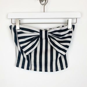 LA Hearts Striped Strapless Bow Crop Top Size S